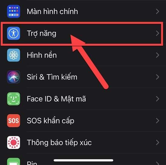 Vào phần Cài đặt trên iPhone và chọn mục Trợ năng