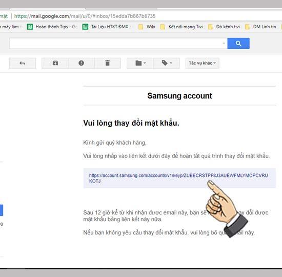 Nhấn vào link để đặt lại mật khẩu