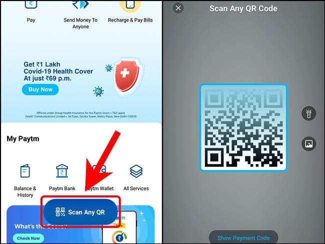 Quét mã QR cho Samsung bằng ứng dụng Paytm