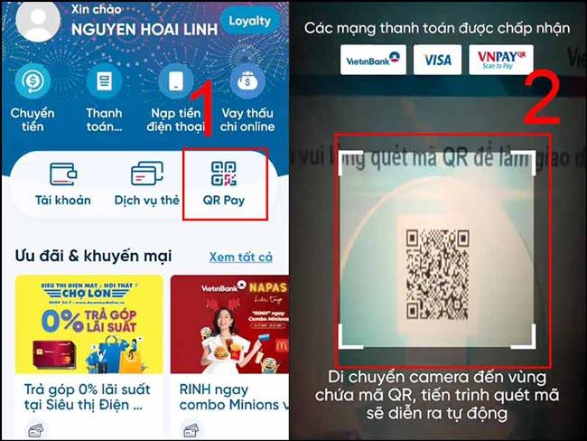 Chọn QR Pay và quét mã QR trên cây ATM Vietinbank