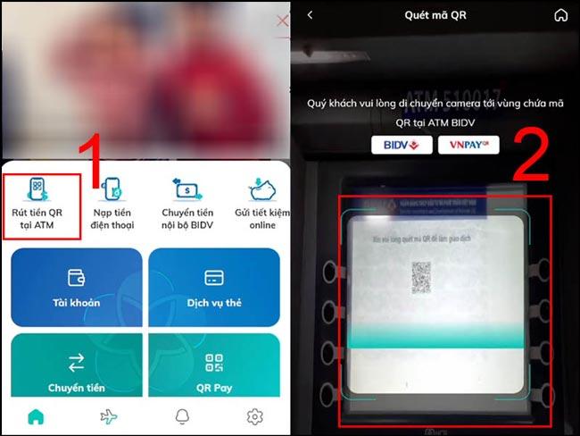 Chọn Rút tiền QR tại ATM và Quét QR