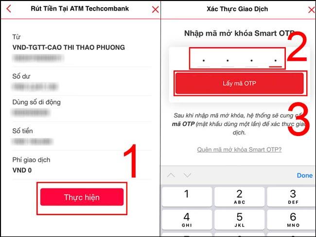 Sử dụng mã mở khoá Smart OTP để lấy mã