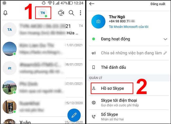 Chọn Hồ sơ Skype