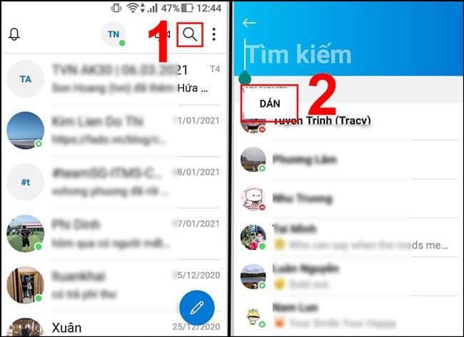 nhấn giữ vào ô Tìm kiếm sau đó DÁN Skype ID người bạn muốn tìm vào