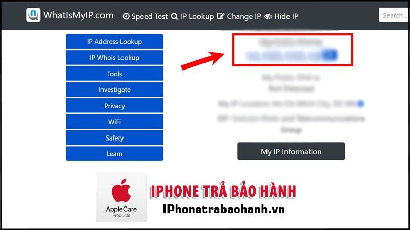 Kiểm tra địa chỉ IP thông qua website