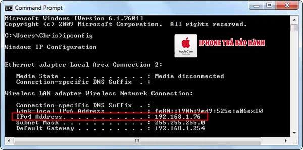 Tìm địa chỉ IP bằng Command Prompt