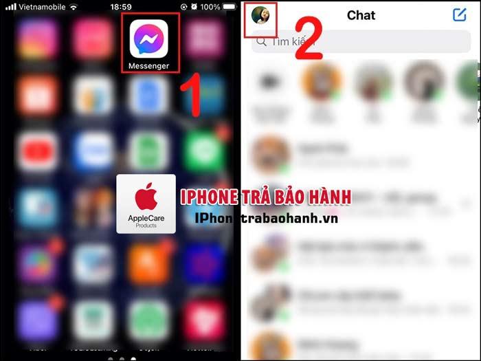 Vào tùy chọn tài khoản Messenger trên điện thoại