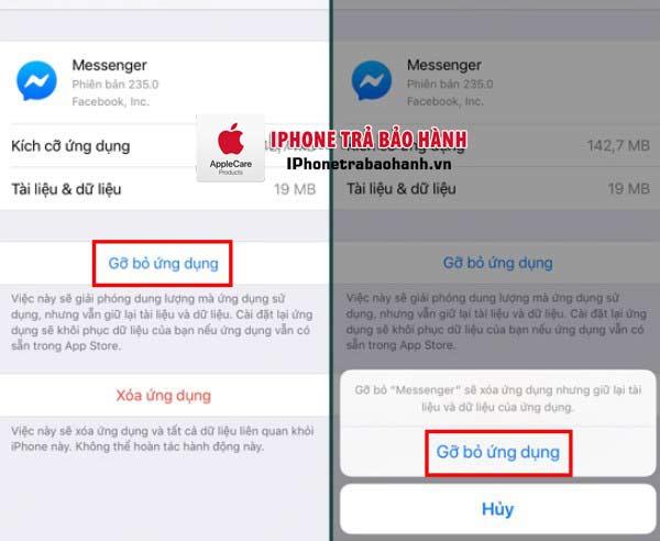 Xóa ứng dụng Messenger và cài đặt lại