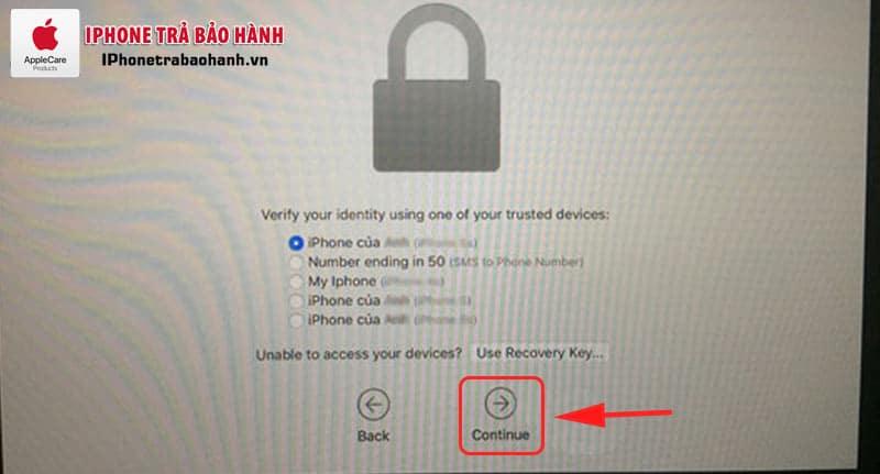 Xác nhận thông tin Apple và chọn Continue